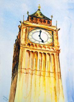 "Original Big Ben Watercolor Painting 11""x15"" $57"