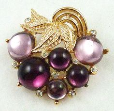 Amethyst Cabochon Grapes Brooch - Garden Party Collection Vintage Jewelry