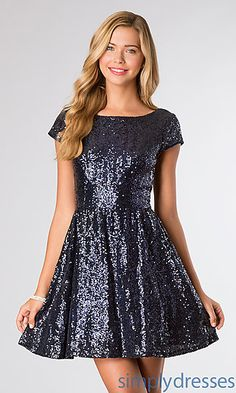 Short Sleeve Sequin Cocktail Dress by B Darlin at SimplyDresses.com