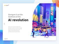 gumgum AI revolution designed by Leo Natsume. Connect with them on Dribbble; the global community for designers and creative professionals. Design Web, Design Sites, Best Ui Design, Page Design, Flat Design, Modern Design, Website Illustration, Digital Illustration, Web Layout
