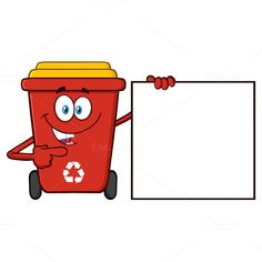 Recycle Bin Pointing To A Blank Sign  @creativework247