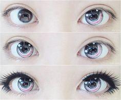 ^ v ^ - Make Up Tips - Cute anime eyes. ^ v ^ lenses - Anime Eye Makeup, Gyaru Makeup, Kawaii Makeup, Cute Makeup, Makeup Art, Lolita Makeup, Doll Eye Makeup, Makeup Drawing, Photo Makeup