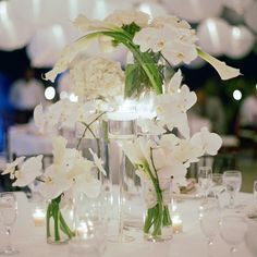 all white centerpieces