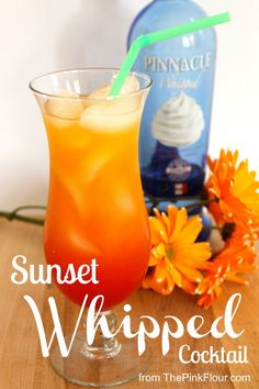 Sunset Whipped Cocktail - 2 1/2 shots of orange juice, 1 1/2 shots of whipped vodka (i.e. Pinnacle Vodka), Splash of grenadine