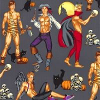 Haunting Hunks in Grey by Alexander Henry by BrooklynDollFabric Halloween Pin Up, Halloween Fabric, Male Pinup, Alexander Henry Fabrics, Pin Up Art, Fabric Online, Letters And Numbers, Digital Prints, Costumes