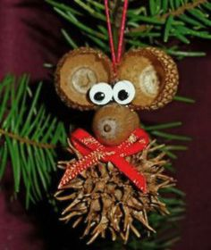 "DIY Homemade Christmas Ornaments at BetterBudgeting: Rustic ""Christmas Mouse"" with acorns and sweet gum pods, easy to make!"