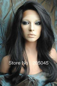 "2013 XCSUNNY Gorgeous 12"" 26`` #1B Natural Black Body Wave Glueless Lace Front Human Hair Wigs 100% Indian Remy Hair Wig GLF027-in Human Hair Lace Front Wigs from Beauty & Health on Aliexpress.com"