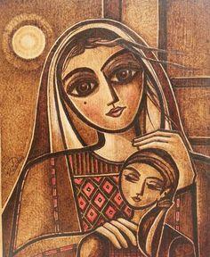 """Motherhood"" By Palestinian artist: Mohammad Ahmad Elshareif  Wood burning art"