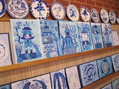 This reminds me of the willow pattern I used to do at the boys homes. Art Education Projects, School Art Projects, Primary School Art, 6th Grade Art, Ecole Art, China Art, Art Lessons Elementary, Art Lesson Plans, Art Classroom