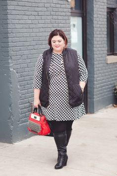 Houndstooth dress from @gwynniebee and quilted vest from @oldnavy on #plussize blogger Authentically Emmie #ootd