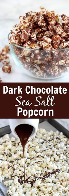 Ahealthysweet and salty snack of popcorn drizzledwith melted dark chocolate and sprinkled with sea salt.Part dessert, part snack - completely delicious! #popcorn #chocolatepopcorn #chocolate #healthy #darkchocolate #seasalt #snacks