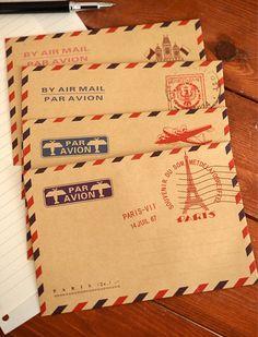 20 pcs/lot Mini Retro Vintage Paris Kraft Paper Envelope Fashion Cute Kawaii Korean Stationery  Postcard  for Cards wax seal