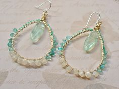 Gemstone wire wrapped ombre hoop earring twisted by madjewelin