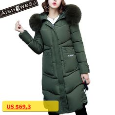 AISHGWBSJ 2017 winter military green parka for women fur collar long jackets with hat female thicker hooded coats cotton PL015
