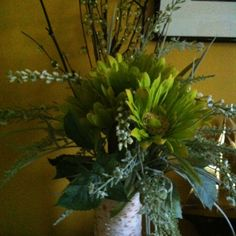 Birch wrapped vase with Silk flower arrangement for gift table