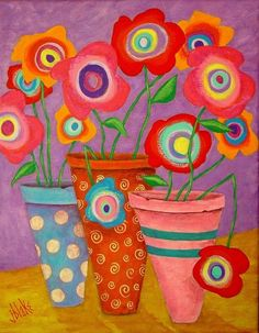 Modern Folk Art FLOWERS in Pots Original by johnblakefolkartist Folk Art Flowers, Abstract Flowers, Flower Art, John Blake, James Blake, Original Paintings, Original Art, Arte Popular, Arte Floral