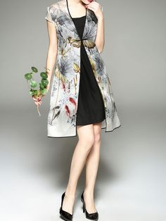 Printed Silk Two Piece Midi Dress