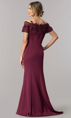 Shop long black mother-of-the-bride dresses at Simply Dresses. Floor-length MOB dresses with off-the-shoulder necklines, short sleeves, trains, and sequin-embellished lace appliques. Evening Dresses With Sleeves, Sexy Evening Dress, Mob Dresses, Formal Evening Dresses, Evening Gowns, Bridesmaid Dresses, Wedding Dresses, Bride Dresses, Mother Of Groom Dresses