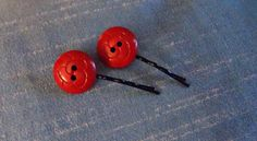 Set of 2 Red Deco Vintage Button Bobby Pins by MissKnits on Etsy