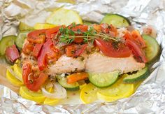 Salmon and Summer Veggies in Foil   Cooking Classy