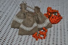 10 x FAVOUR BAGS LACE TWINE HESSIAN RUSTIC WEDDING JUTE GIFT SANTA SACK
