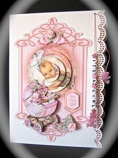 Baby Girl with Pram Fancy Topper Mini Kit on Craftsuprint designed by Sandie Burchell - made by Cynthia Massey - Printed onto Crafty Bobs matte paper, mounted the topper onto my card blank with punched borders, decoupaged with foam pads, threaded pink silk through the holes, and attached 'its a girl' beads and pink satin teddies to the ends, another pink teddy to the pram and 2 pink satin roses, such an adorable design which also has a matching gift tag. - Now available for download!