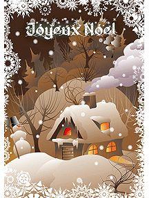 Une maison chaleureuse sous la neige est illustrée sur cette carte de noël à imprimer