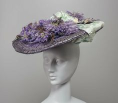 Hat: ca. 1905-1910, American, straw, silk ribbon, silk flowers.