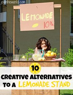 Kids getting tired of the same olf lemondade stand? Check out these 10 creative alternatives to a lemonade stand #summertime #summertimeforkids #summer #summerfun #lemonadestand #kidfun #kidsactivities