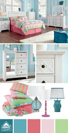 """Pink accessories with fun blue walls! Iseydona Bedroom - Ashley Furniture HomeStore Want to get updates on New Products like this and specials. Get the """"FREE"""" Home Design Network Smartphone/Tablet app. Go to  http://c8872bdb-e5e2-44c6-9f3b-7b8d09bd5add.mobapp.at/landing"""