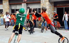 A game of unicycle football