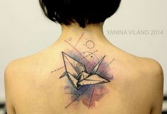 The Geometrical Bird in Abstract Geometry. Whether you are a Math person or not, this tattoo offering geometric shapes and geometric art will still got your mind. The tattoo offer great mix of colors and details, that are rarely seen in most of the tattoos.