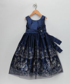 Take a look at this Navy & Metallic Dress - Girls on zulily today!