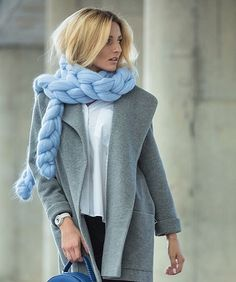 Endure the cold in style with our super soft Taffy Chain Scarf. Go to our site to see all the color options (link in bio). Coat by @julia_pomoshko