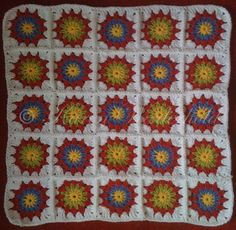 """Snazzy Circle"" Crochet Squares Pattern   I use US terminology so for UK work DC as Tr      and       Tr as Double Tr   Round1.     ..."