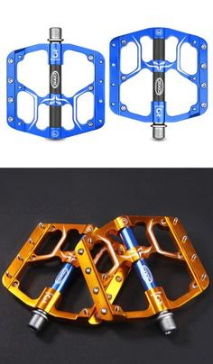 Blue and Gold colored bike pedals designs with anti-slip cleats. Mountain Bike Pedals, Best Mountain Bikes, Mountain Biking, Fixed Gear Bicycle, Cycling Gear, Road Cycling, Bicycle Lights, Cool Bicycles, Bicycle Accessories