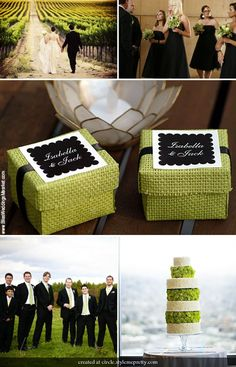 Black and lime green wedding idea