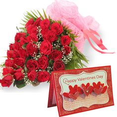 Bunch of 30 Red Roses With Valentine s Greeting Card