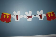 Mickey Mouse Themed I am 1 banner by 1CreativeMommy on Etsy, $10.00