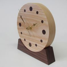 This is a stunning addition to our wooden clock range, handcrafted form Ash and Walnut http://www.thewoodhut.co.uk/collection.php?detail=56 Clock Art, Diy Clock, Arte Nas Paredes, Mantle Clock, Wood Clocks, Wood Gifts, Wooden Crafts, Wood Turning, Wooden Walls