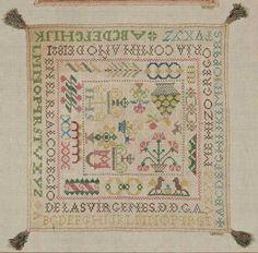 "Spanish Sampler ~ 1821 ~ Square linen sampler embroidered with concentric bands of alphabets, decorative borders and motifs; inscribed ""Me Hizo Gregoria Comin ano de 1821 en el real Colegio de Las Virgenes D.D.G.A."" Stitches: cross ~ Museum of Fine Arts, Boston"