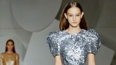 A dress from the Carolina Herrera collection is modelled during New York Fashion Week.