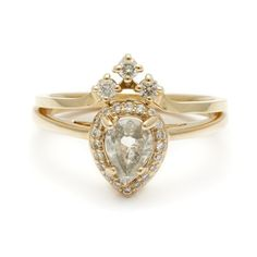 Anna Sheffield Pear Rosette Ring $4,600, pear cut, engagement ring, engaged, wedding, gold, fine jewerly