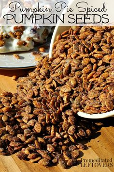 Pumpkin Pie Spiced Pumpkin Seeds Recipe - Save your pumpkin seeds and toss them with pumpkin pie spice to make this delicious roasted pumpkin seeds recipe.