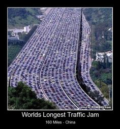 The world's longest traffic jam took place in Beijing, China. It was over 60 miles long and lasted 11 days.
