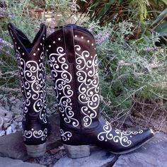 """HOST PICK 10/22/15Black Willow Western Boots New in the Box!!! Retail $465. 1 3/4"""" Stacked Heel, Alternating Lemonwood Peg and Nail Construction, All Leather, Turquoise Comfort Sole, Old World Construction with 3/4 Welt, Snipped Toe, White Embroidery and Full Bezel set Crystals along Top and throughout design, Pull on Loops, 14"""" Circumference, Nuthin but Gorgeous!! Giddy Up!! Lane Shoes Heeled Boots"""