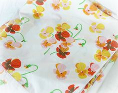 Vintage 60s Mod Floral Double Full Flat Sheet Orchid Print at PaddywhackKnickKnack, $22.00