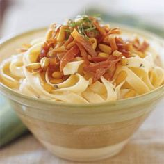 Fettuccine with Gorgonzola and Prosciutto | MyRecipes.com Easy to make and quite delicious.