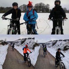 Snowy bike ride on the Tissington Trail for the year 7s adventure weekend #abbotsholmeschool #tissingtontrail