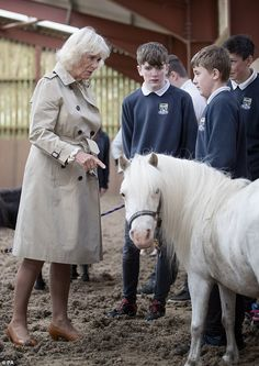 The Duchess of Cornwall aka Duchess of Rothesay when in Scotland, met stu. Prince Charles And Camilla, Burberry Trench Coat, Duchess Of Cornwall, Prince Of Wales, Ponies, Mail Online, Daily Mail, Royals, Charity